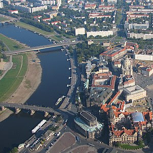 Dresden aerial photo City Augustus bridge acro...