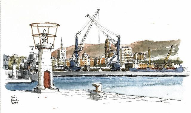 Málaga, view from fishing dock