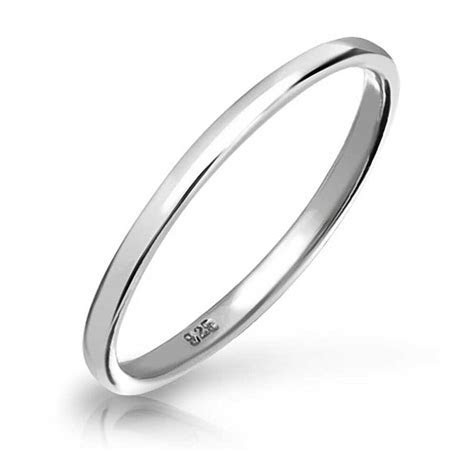 925 Sterling Silver Plain 2mm Thin Bridal Wedding Band