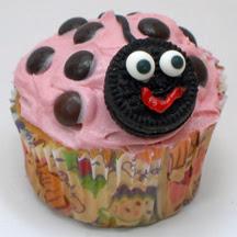 pink ladybug cupcake