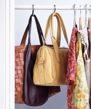 Use Shower Hooks in Closet as Bag Holders