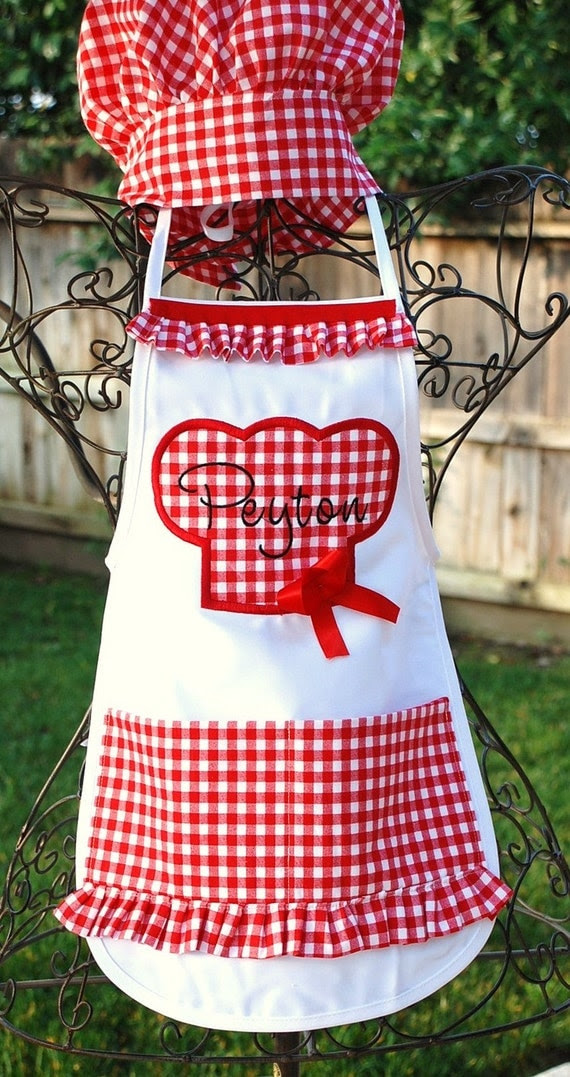 Perfect little girls personalized apron  matching chefs hat available for order
