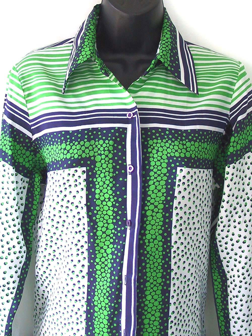 70s Geometric Print Green White and Blue Blouse S M
