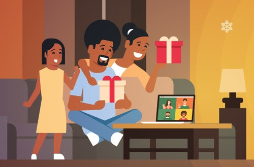 A family is shown indoors, holding presents, with a laptop in front of them. They are talking to other individuals who are shown on the laptop screen.