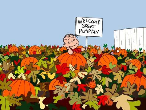 linus welcome sign in hand waiting in earnest at a local pumpkin patch for the the great pumpkin to appear on halloween night vintage image source