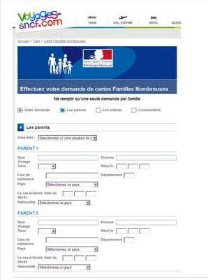 dossier carte famille nombreuse Carte : Formulaire Carte Famille Nombreuse