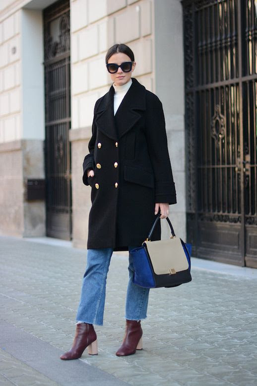 Le Fashion Blog Double Breasted Military Coat Cream Turtleneck Levi Jeans Maroon Boots Via Fashion Vibe