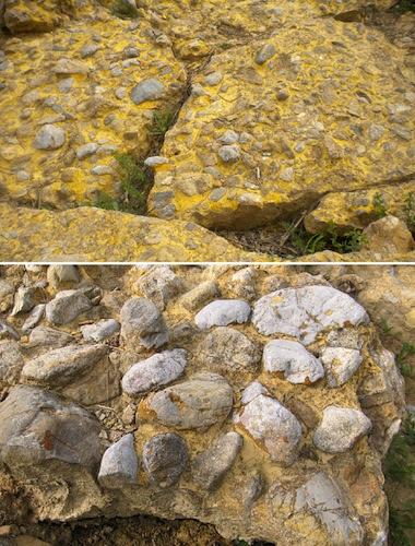 Grandes bloques de hormigón de la Pirámide del Sol