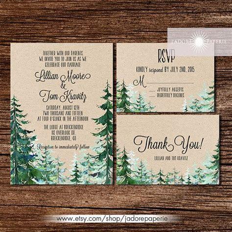 Forest Wedding Invitation, Rustic Watercolor Tree Invite