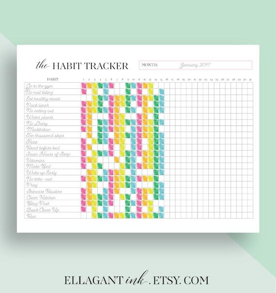 Habit Tracker Printable daily habits planner by EllagantInk
