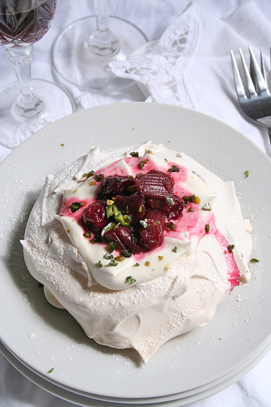 Rhubarb, cherries, white chocolate Pavlova 1