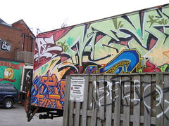 bird, chicken truck, mural & grafitti
