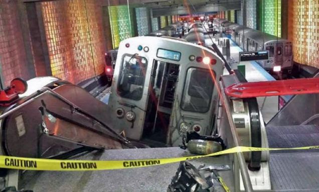 Shocking: Rail services across Chicago have been suspended after at least 30 adults were injured in this crash