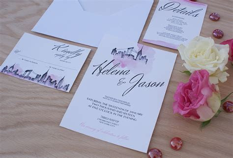 New York City Wedding Invitation Handpainted with