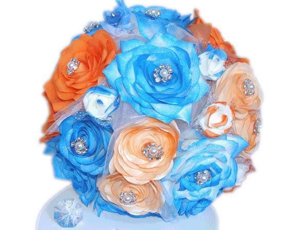 Blue And Orange Bridal Bouquet Artificial Wedding Bouquet Paper Bouquet Wedding Party Bouquets Fake Flower Bouquet Blue Silk Bouquets 2208418 Weddbook