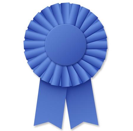 Blue Ribbon Rosette PSD Template Free Downloadable Image.