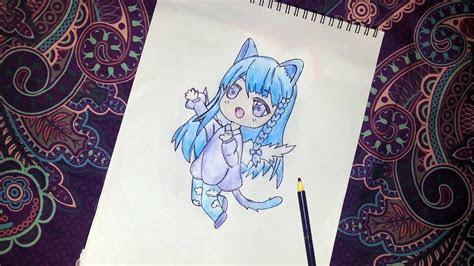 draw anime girl  cat ears animal costume