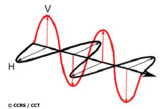Exemples de polarisations horizontales (noir) et verticales (rouge) d'une onde électromagnétique