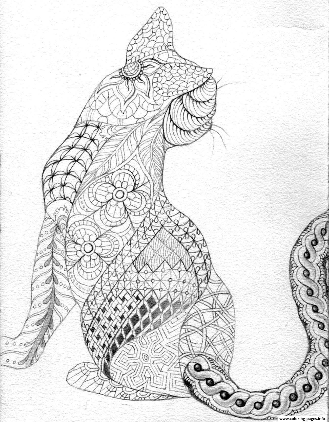 Kitten Adult Difficult Cat From Back Coloring Pages Printable