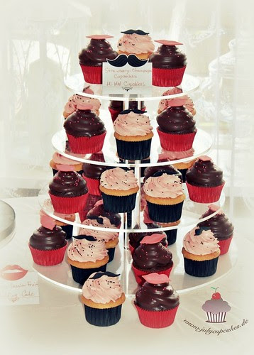 Lips and Mustache Wedding Cupcake Tower