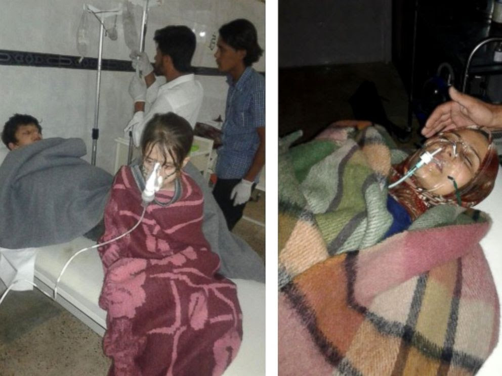 PHOTO: Victims who it says were treated following a SAMS-reported chlorine attack by the Syrian government on the town of Al Kastan on June 7, 2015, are seen in these photos. ABC News cannot independently confirm the authenticity of these photos.
