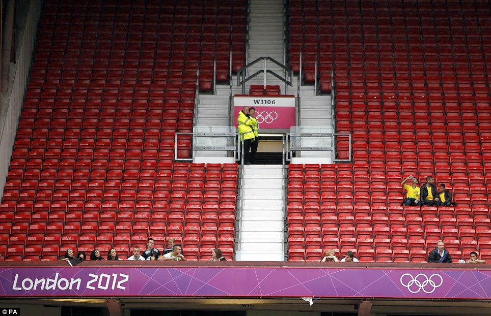 All quiet: Rows of seats lay empty during the football match between Egypt and New Zealand at Manchester United's stadium, Old Trafford