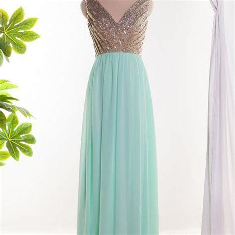 Mint Green Bridesmaid Dress, V Neck Sequins Bridesmaid