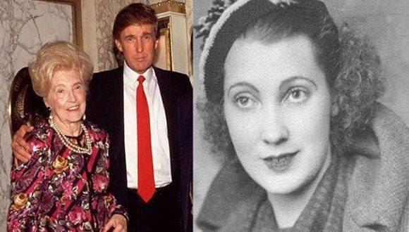 A la izquierda Donald Trump con su madre, a la derecha foto de joven de la madre de Trump