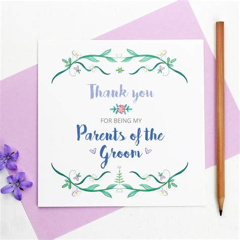 parents of the bride or groom thank you card by martha