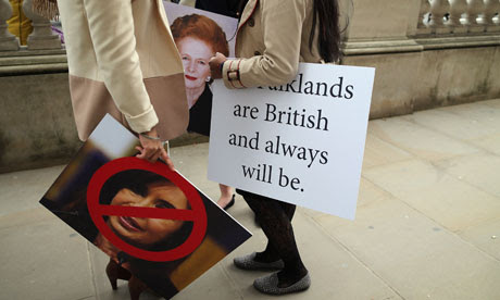 Protesters in favour of UK sovereignty of the Falkland Islands in London