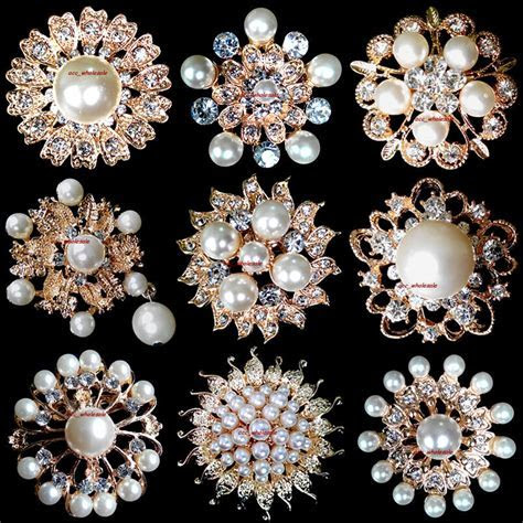 Wholesale Lot 12 100 Gold Pearl Rhinestone Crystal Pin