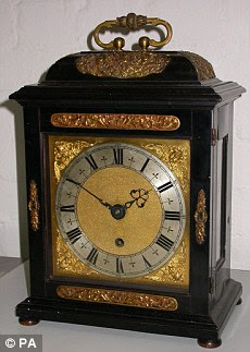 Undated handout photo issued by Cumbria Police of a Thomas Tompion clock which was stolen from Levens Hall, near Kendal, Cumbria