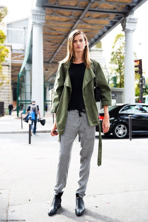 9 Le Fashion Blog 15 Ways To Wear A Green Army Jacket Model Street Style Striped Pants Via Collage Vintage photo 9-Le-Fashion-Blog-15-Ways-To-Wear-A-Green-Army-Jacket-Model-Street-Style-Striped-Pants-Via-Collage-Vintage.jpg