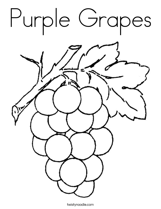 Purple Grapes Coloring Page - Twisty Noodle - Coloring Home