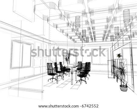 Interior Office Design Photos on The Modern Office Interior Design Sketch  3d Render  Stock Photo