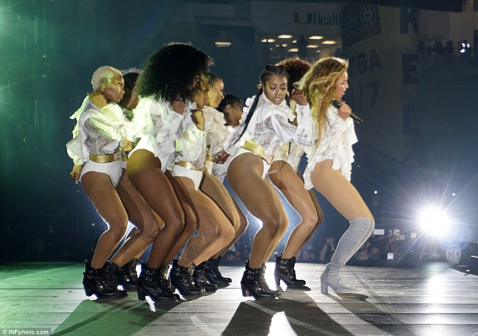 With my girls: Beyonce's dancers had just as many costume changes at their Queen Bey, coordinating in a series of bodysuits