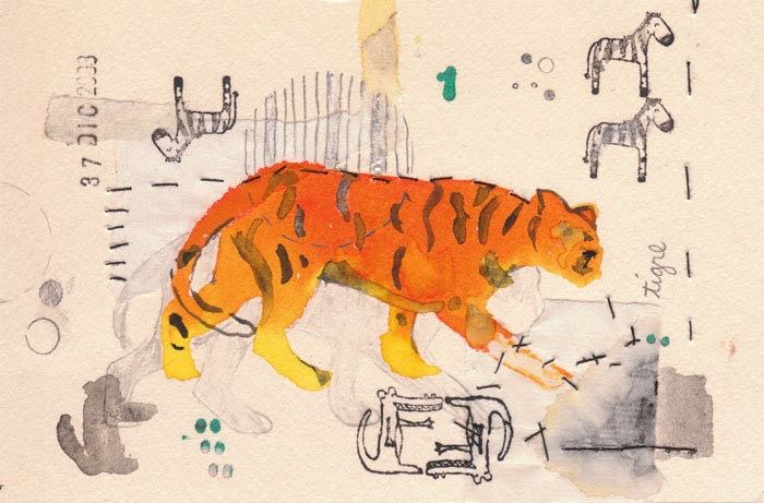 Fine Print  Tiger, orange black