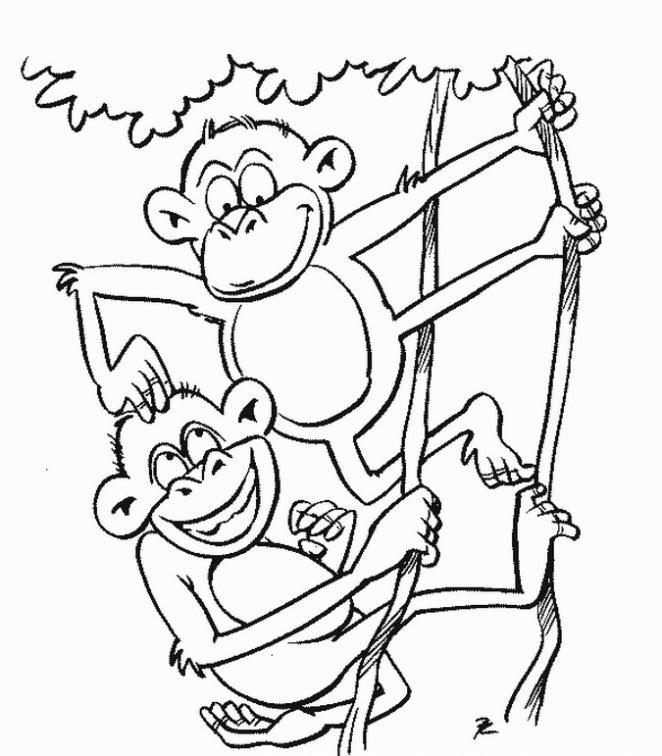 Dibujo De Monos Dibujo Para Colorear De Monos Dibujos Infantiles