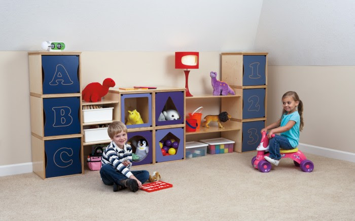 A perfectplay room.com Clean palette natural wood and navy storage units