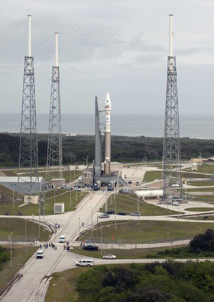 The Atlas V rocket carrying NASA's Mars-bound MAVEN orbiter sits at its Space Launch Complex 41 pad at Cape Canaveral Air Force Station in Florida, on November 16, 2013.