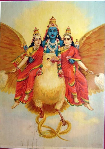 """Garuda Vahan Vishnu,"" from the Ravi Varma studio, c.1910's Source- ebay, Oct. 2009.jpg"