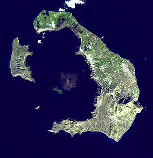 Santorini from space, showing the centre of the island blown away by the eruption