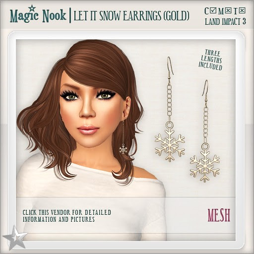 [MAGIC NOOK] Let It Snow Earrings (Gold) MESH