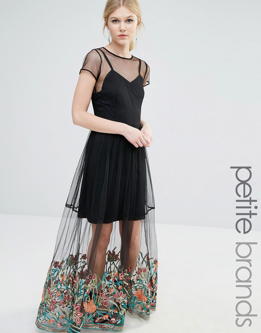 Image 1 of Boohoo Petite Embroidered Hem Mesh Maxi Dress