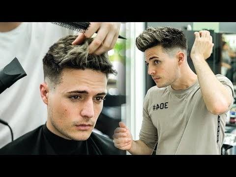 Skin Fade Textured Quiff Haircut Hairstyle Tutorial Mens Summer