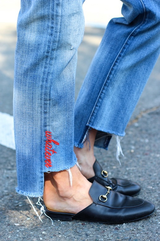Le Fashion Blog Fall Style Embroidered Jeans Fray Black Leather Loafers Via HonestlyWTF