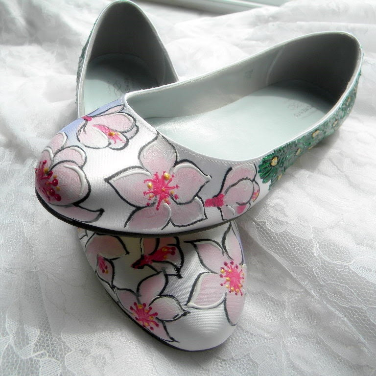 Wedding shoes peacock flats and apple tree blossoms From norakaren