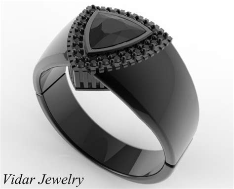 Mens Wedding Band Black Gold 1 Carat Black Diamond   Vidar