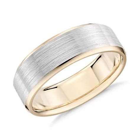 Brushed Beveled Edge Wedding Ring in 14k White and Yellow