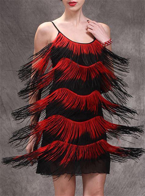 womens fringe dresses black red short sleeves